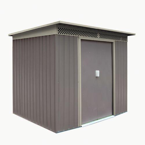 4,8 m² Metall Gerätehaus grau/beige