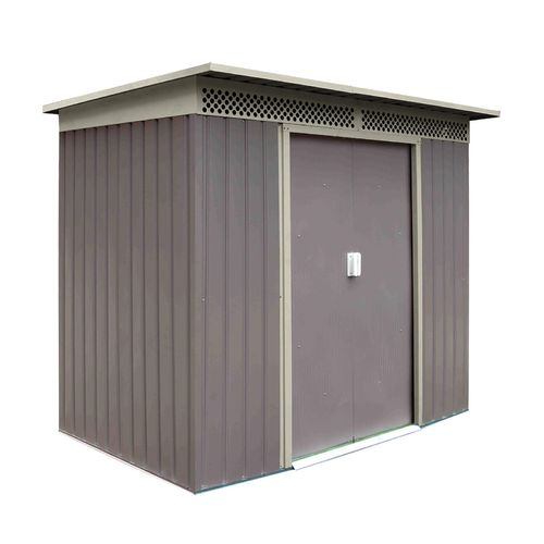 2,4 m² Metall Gerätehaus grau/beige