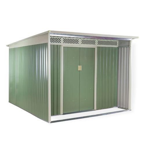8,2 m² Metall Gerätehaus grün/beige
