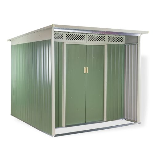 3,7 m² Metall Gerätehaus grün/beige